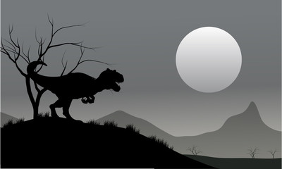 Silhouette of allosaurus with moon