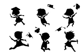 Silhouettes of cartoon graduate student