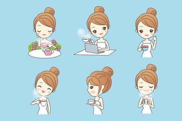 Cartoon young woman enjoy tea