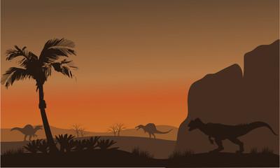 Silhouette of Spinosaurus and Allosaurus