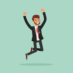 isolated happy business man jumping