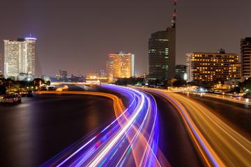 Night light on Taksin Bridge at bangkok thailand