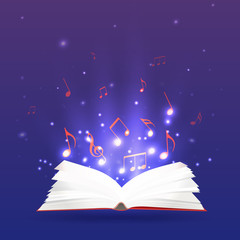 Vector illustration of an open book with rays and musical notes.