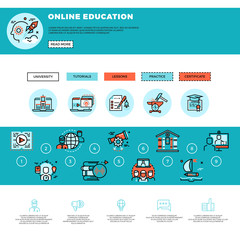 E-learning, education or training courses web design template. Online tutorials and web education vector illustration