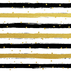 Gllitter gold striped wallpaper. Paint brush strokes background.