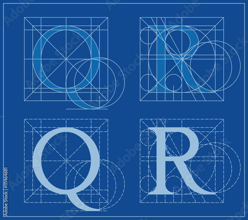 Designing initials letters q and r blueprint stock image and designing initials letters q and r blueprint malvernweather Choice Image