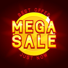 Mega sale banner with coin. Vector illustration with discount advertising. Best offer.