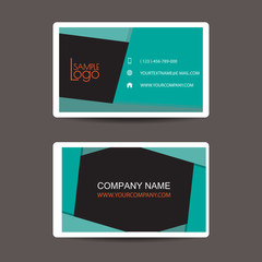 New modern simple light business card template with flat user in