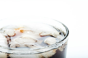 ice with coke in glass