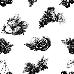 Hand drawn vintage set of berries and fruits isolated on white background.