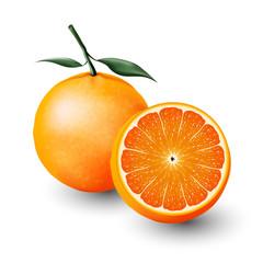 Orange and a half of orange, fruit, transparent, Vector