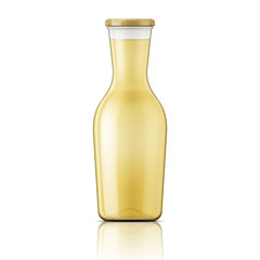 Glass bottle with wide neck.