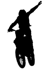 Wall Mural - Man on sports bike on white background