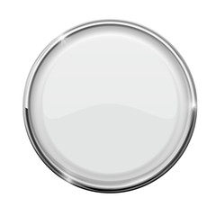 Glass button. White round button with metal frame