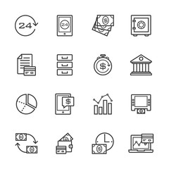 Banking gray line of icons set of 16