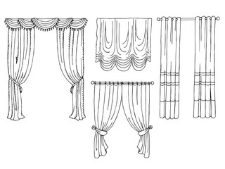Curtain graphic set art black white isolated illustration vector