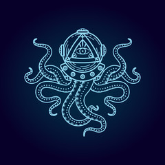 Octopus in retro deep diving suit. Eye of Providence.