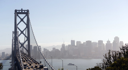 Bay Bridge Rush Hour Traffic San Francisco Transportation