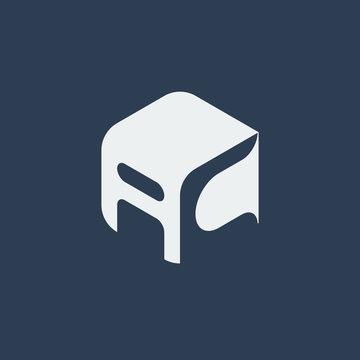 AC Logo.. Vector Graphic Business Branding Letter Element Illustration. Cube Negative Space Design. Dark Background