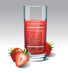 Vector nutrition facts of strawberries Juice