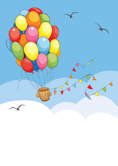 Bright travel/Background with Hot Air Balloon made of colored balloons flying in the sky