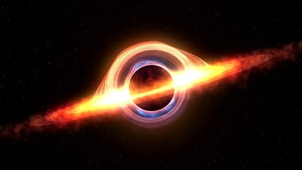Black hole attracting space matter. 4k video 3d rendering