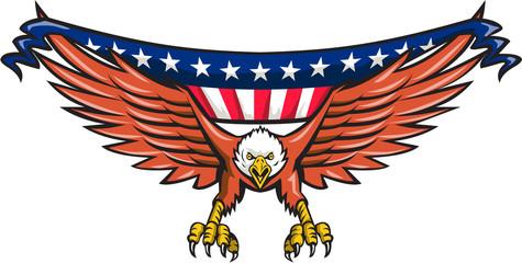 American Eagle Swooping USA Flag Retro