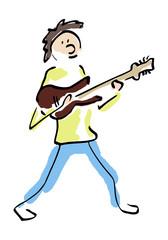 Jongen speelt gitaar