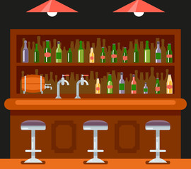 Pub Bar Restaurant Cafe Symbol Alcohol Beer House Interior Icon Background Concept Flat Design Template Vector Illustration