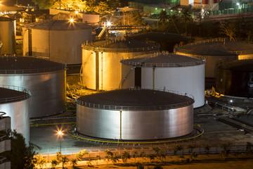 Huge metal tank store in oil refinery.