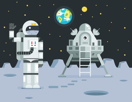 Cosmonaut Astronaut Landing Planet Lander Icon on Stylish Earth Moon Stars Background Retro Cartoon Design Vector Illustration