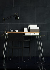 Modern Table and Chair in Office with Black Tile