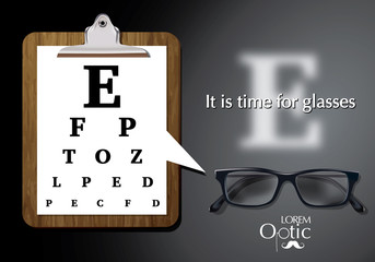 Vector Eyesight test chart with glasses close-up
