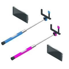 Selfie stick. Flat 3d vector isometric illustration