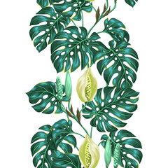 Seamless pattern with monstera leaves. Decorative image of tropical foliage and flower. Background made without clipping mask. Easy to use for backdrop, textile, wrapping paper