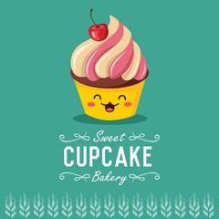 Fun cartoon cupcake. Bakery and pastry cartoon character. Vector illustration.