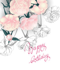 Birthday card with blooming peonies . (Use for Boarding Pass, invitations, thank you card.) Vector illustration.