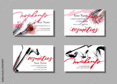 Makeup artist business card vector template with makeup items makeup artist business card vector template with makeup items pattern brush pencil reheart Gallery