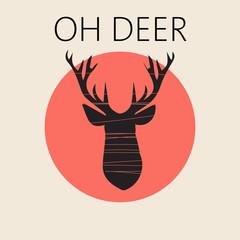 Head of deer in outline over a red round frame. Digital vector image.
