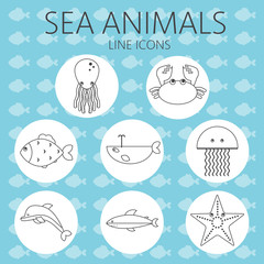 Black sea animal set in outlines with octopus, crab, fish, penguin, shark, whale, jellyfish and starfish over an aqua blue background with fish. Digital vector image.