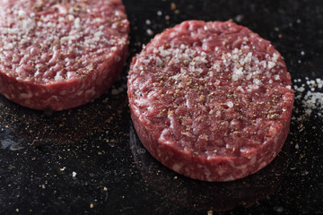 Meat for burgers, grilling, barbecue, bbq. Fresh, spicy, uncooked, delicious beef for hamburgers on dark background with copy space closeup