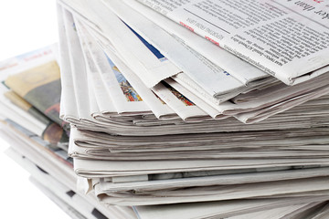 detailed view of a stack of newspaper.
