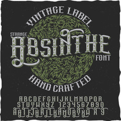 Vintage label Absinthe hand crafted font
