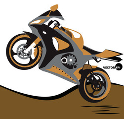 Bike, jumps on the motorcycle and extreme sports. Sportbike. Motobike, sport body kit