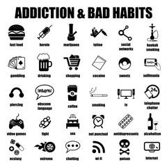 addiction and bad habits icons set