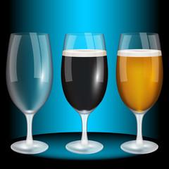 Glass of beer, light, dark, blank. High quality vector