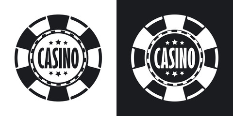 Casino chips icon, vector. Two-tone version on black and white b