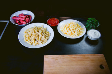 ingredients for pasta, cook food, delicious Italian dish