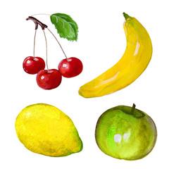 Watercolor hand drawn set fruit. Illustration fruit icon isolated on white background.