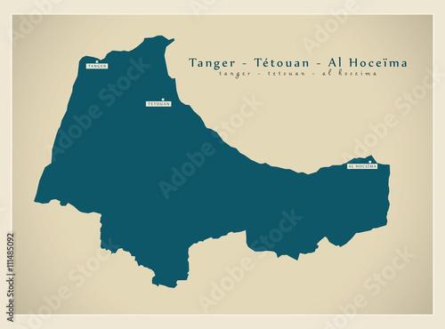 Modern Map Tanger Tetouan Al Hoceima MA Stock image and